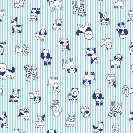 Seamless pattern with simple and cute dog illustrations, Vetores