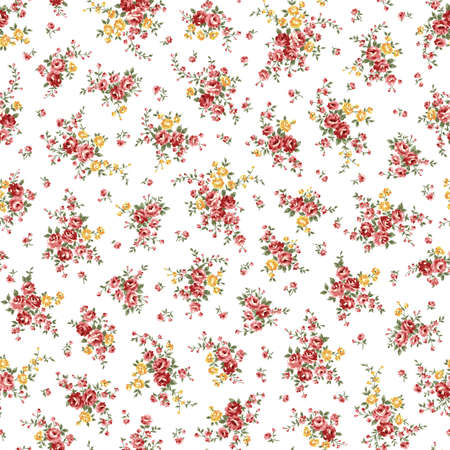 Seamless pattern using a bouquet of roses, Ilustración de vector