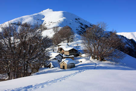 rural town: Rural town with snow