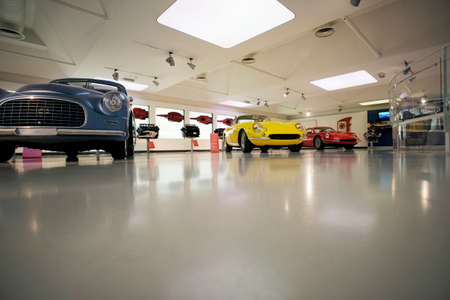 automobile door: car showroom and old automobile buy and sale  Editorial