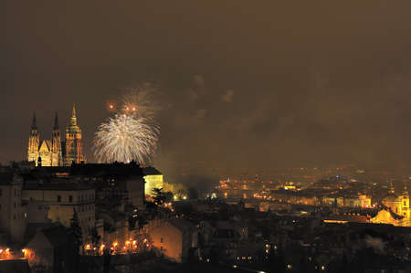 Fireworks over the Prague on the New Year Stock Photo