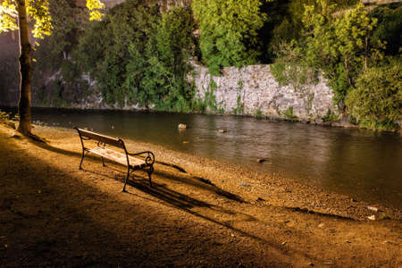 Bench on the river bank