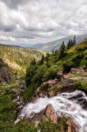 Labe waterfall spring in Krkonose s woods Stock Photo
