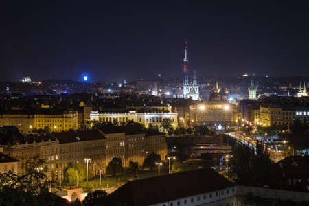 Prague overview at night Stock Photo