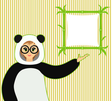 cosplay: illustration of cute smiling anime girl in panda suit and bamboo text board on yellow stripes background