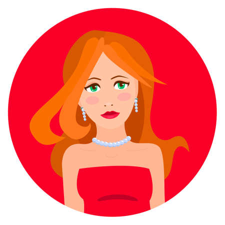 red haired woman: illustration of red haired woman in red dress Illustration