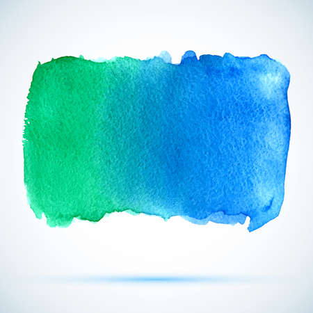 vector watercolor green and blue background banner with shadow Vector