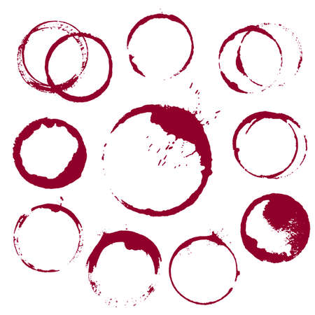 vector set of 10 round ink wine stains isolated on white background Vectores