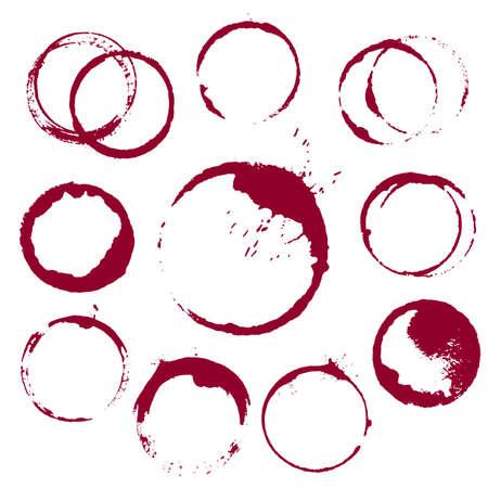 vino: vector conjunto de 10 manchas de vino de tinta ronda aislado sobre fondo blanco