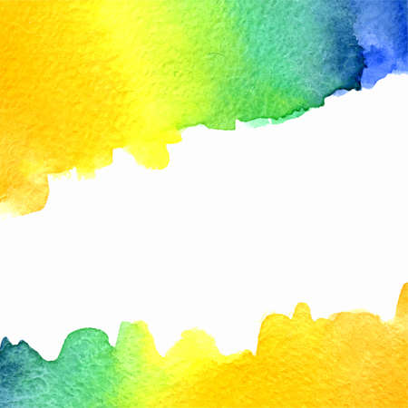 vector watercolor orange, yellow, blue, green gradient background with horizontal copy space Vector