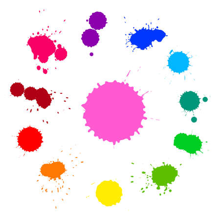 Vector set of colorful rainbow ink splashes isolated on white background Vector