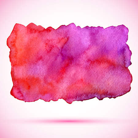 violet red: vector watercolor background pink, red and violet paint stain with shadow