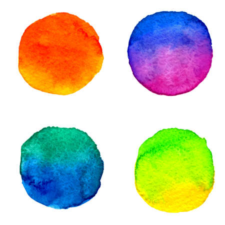 vector set 4 round watercolor colorful paint stains orange, yellow, green, pink, violet, blue, azure, cyan, ultramarine, purple