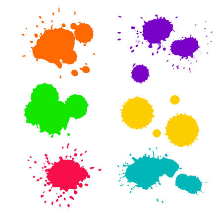 speckle: Vector set of six ink colorful splashes in pink, yellow, orange, green, blue and violet colors