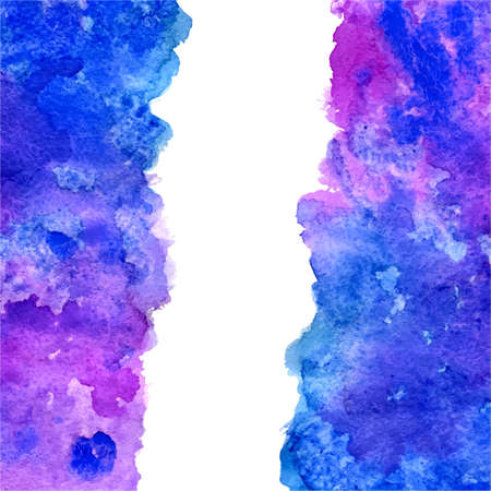 copy center: vector watercolor blue and violet grunge background with vertical center copy space