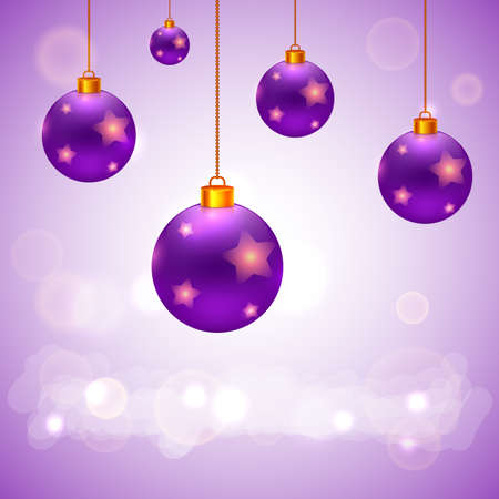 five stars: Vector Christmas present card. Five violet christmas balls with stars on light purple background Illustration