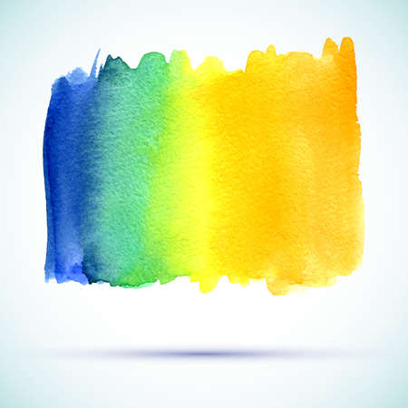 vector watercolor orange, yellow, blue, green rainbow gradient banner with shadow