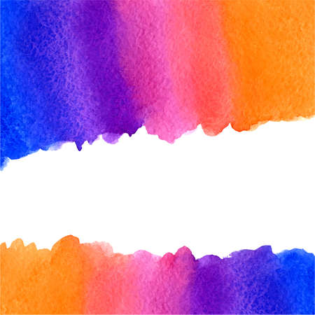 rosy: vector watercolor blue, violet, pink and orange gradient background with horizontal copy space