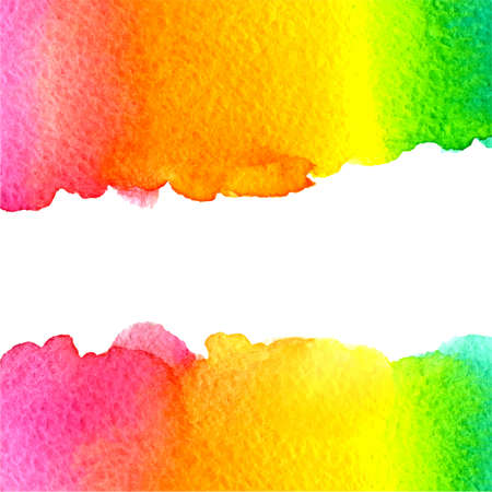 rainbow colours: vector watercolor colorful rainbow green, yellow, orange, pink background with horizontal center copy space