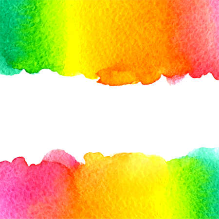 vector watercolor colorful rainbow green, yellow, orange, pink background with horizontal copy space Vector