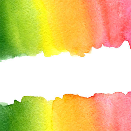 vector watercolor green, yellow, orange and pink rainbow background with horizontal copy space