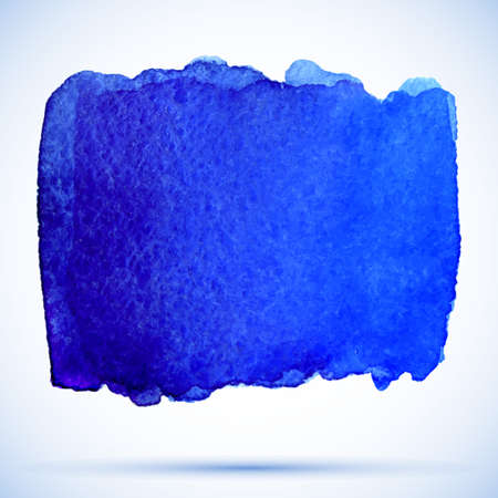 ultramarine: vector watercolor grunge background ultramarine paint stain with shadow