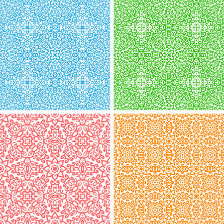 Vector set of 4 seamless abstract floral lace pattern Vector