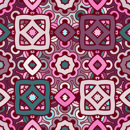 rosy: Vector seamless abstract kaleidoscope pattern in violet, turquoise and rosy colors Illustration
