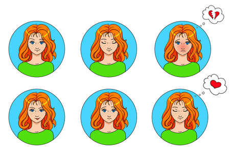 freckles: vector emotions set of 6 girls avatar isolated on white background. illustration in cartoon style. Illustration