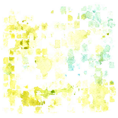 vector watercolor abstract background. green, yellow and blue squares paint stains