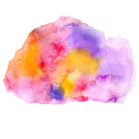 colors paint: vector watercolor illustration abstract colorful paint stain in orange, pink and violet colors isolated on white background