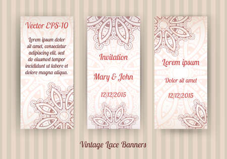 mendi: vector set of 3 vintage lace banner templates in light brown and beige colors