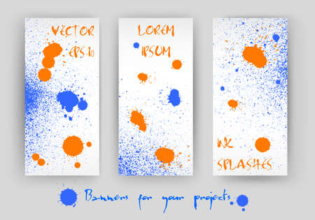 speckle: vector set of 3 banners with blue and orange colorful splashes design Illustration