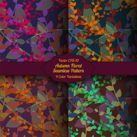variations: Vector autumn seamless floral pattern in four color variations.