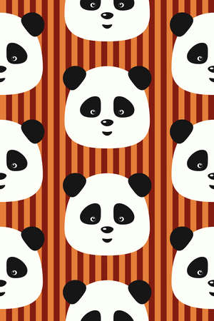 cute wallpaper: Vector seamless pattern with funny pandas on red vertical stripes background Illustration
