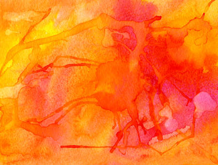 violet red: Hand drawn red, yellow, orange and violet watercolor abstract background with big splash and squirts.