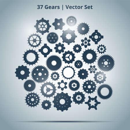 rackwheel: Vector set of 37 blue gears on light background with lights Illustration