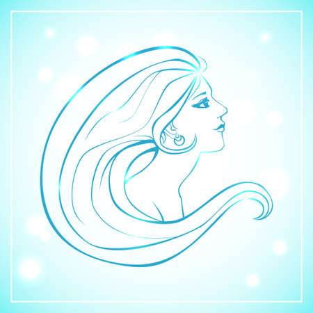 woman side view: Vector illustration of woman bust in side view and with long hair. Blue lineart on light background with bokeh. Illustration