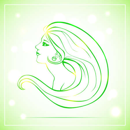 woman side view: Vector illustration of woman bust in side view and with long hair. Green lineart on light background with bokeh. Illustration