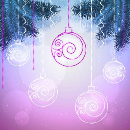 Vector vakantie achtergrond met kerstballen en dennenbomen in blauw en violet kleuren.