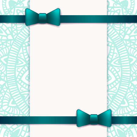 Blue vintage greeting card template with bow and ribbon vector banco de imagens blue vintage greeting card template with bow and ribbon vector wedding invitation design anniversary template design for any stopboris Gallery