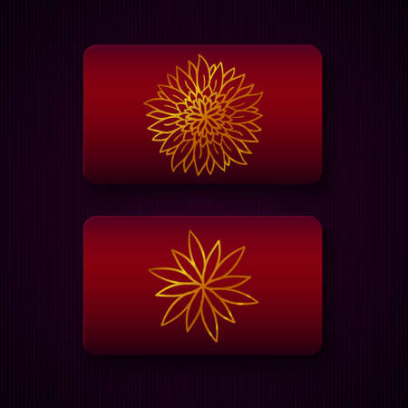 christmas greeting card: Luxury business cards templates in red and golden colors on dark background. VIP gift card designs. Greetings card layout. Vector EPS10 file.