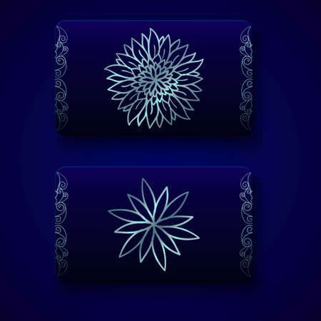 christmas greeting card: Luxury business cards templates in deep blue and silver colors on dark background. VIP gift card designs. Greetings card layout. Vector EPS10 file.