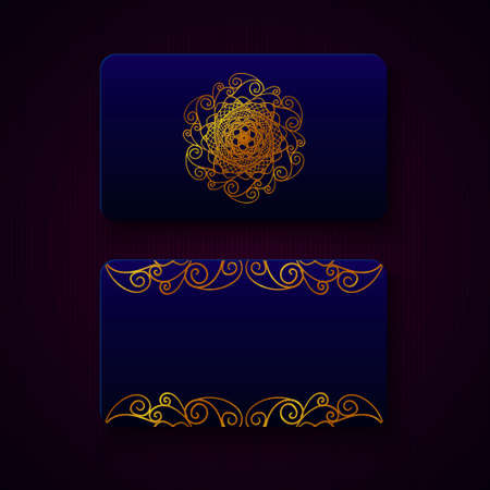 christmas greeting card: Luxury business cards templates in deep blue color with golden decorations on dark background. VIP gift card designs. Greetings card layout. Vector EPS10 file.