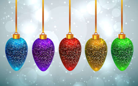 Set of sparkled and shining rainbow Christmas toys on light grey background with bokeh effect.