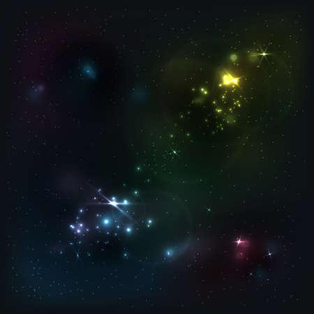 Vector galaxy. Beautiful abstract shining stars background. Bright night sky. Creative cosmic space illustration. Stock Illustratie