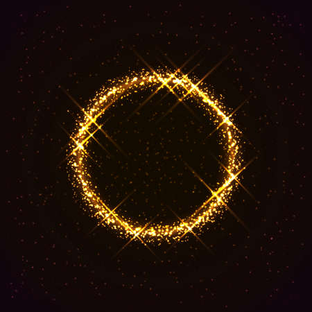Vector galaxy. Shining golden ring made of stars. Beautiful abstract cosmic background. Bright yellow circle. Creative cosmic space illustration.