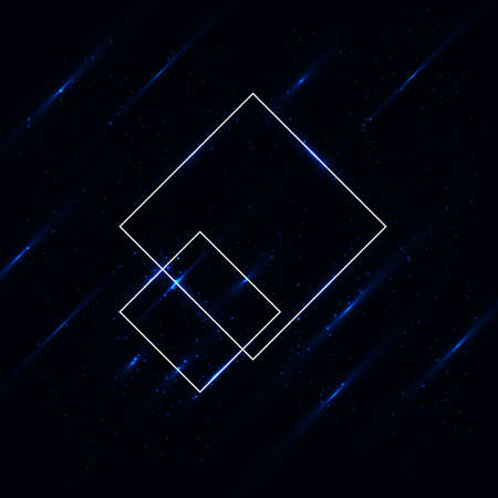 Shining blue abstract rhombs and shooting stars. Beautiful abstract cosmic background. Creative cosmic space illustration.