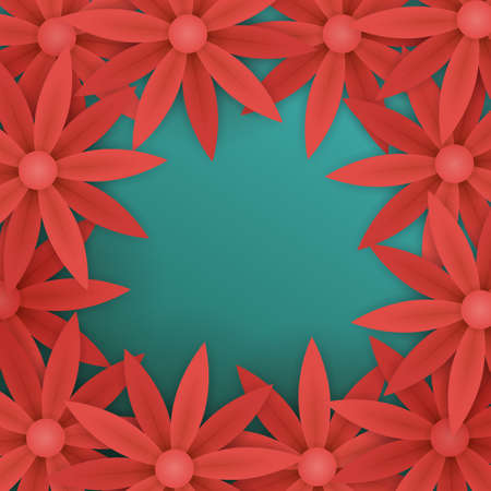 floral banner template. red paper flowers on blue background. flyer for your advertisements.