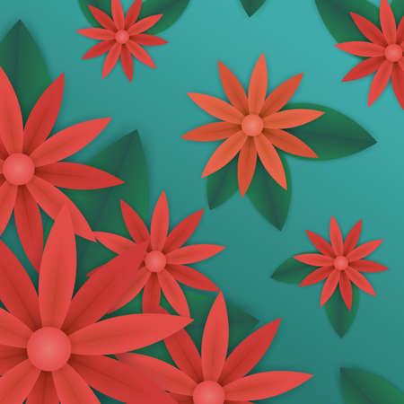 spring or summer floral wallpaper. paper flowers and leaves on blue background. plant elements for gift or present cards templates.